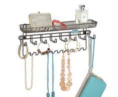 mDesign porte-bijou & porte-manteau mural avec tablette pour bracelets, boucles d'oreille, portables & d'autres accessoires – tablette murale spacieuse – bronze