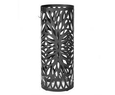 Songmics Porte parapluies en métal rond noir avec un plateau et crochets 49 cm x Ø 19,5 cm LUC20B
