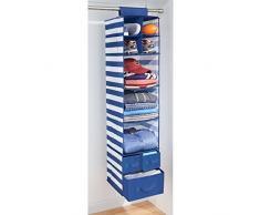 mDesign étagère suspendue avec 7 compartiments et 3 tiroirs – sac de rangement idéal visuel tissu rayé – rangement suspendu pour chaussures, foulards, etc. – blanc/bleu