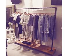 industriel Tuyau Vêtements de vêtement de Pipeline vintage Rolling Rack avec roues Ballet Vêtements Rack (3), Acier, noir, A-Height 59inch