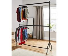 à deux étages Tringle à vêtements robuste vêtement à suspendre Rack en métal Noir – pas besoin doutils – (1,8 m de long x 2,1 m de hauteur)