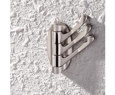 KES Porte-manteau mural 3 crochets pivotants Métal solide - Brushed Nickel