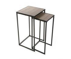 VERSA - Sellette carrée métal noir et bois style industriel Versa set de 2