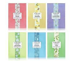 LA BELLEFÉE Sachets Parfumés pour Parfumer Tiroirs Armoire Placards Meuble à Chaussures Salles de Bain (30g x 6 Sachets)