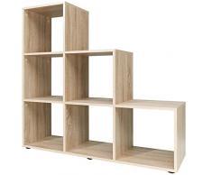 Bibliothèque chêne blanc étagères de stockage Unité 3 ou 4 escalier – 105 x 32 x 106 ou 139 x 32 x 141 Cm de haute qualité
