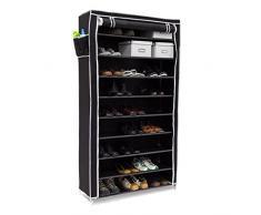 Relaxdays Meuble à chaussures VALENTIN Housse tissu étagère armoire chaussures 10 Étages Dimensions HxLxP 161 x 88 x 30 cm pour 45 paires de chaussures fermeture éclair, Noir