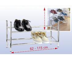 WENKO Étagère à chaussures - télescopique, empilable, 2 étages, pour 10 paires de chaussures, Métal, 64-119 x 35 x 23 cm, Chromé