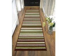 Lord of Rugs Tapis de couloir à rayures long contemporain Vert/marron 60 x 220 cm