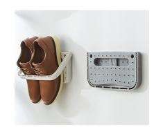 LJHA Support de rangement mural de pantoufle de bâton de ménage pliable en plastique de support de chaussure Meubles à chaussures (Couleur : Blue)