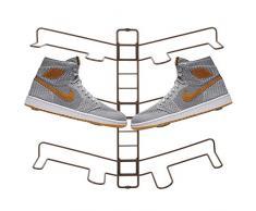 mDesign rangement chaussures – étagère chaussure murale ajustable pour trois paires de baskets, chaussures de sport, etc. – gain despace part rapport à une armoire chaussures – couleur bronze