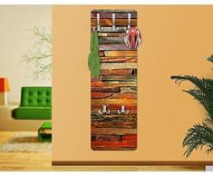 apalis 67525 Portemanteau mural Porte-manteau mural Motif planches bois vintage Découper couloir Crochet en acier inoxydable murale en bois Panneau mural, 139 x 46 cm