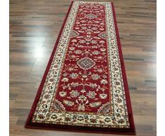 Grand et long tapis persan classique oriental style floral Rouge 60 x 230 cm