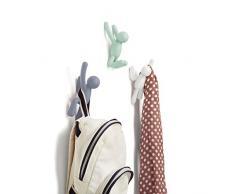 Crochets muraux Buddy de Umbra - Porte-manteau mural décoratif pour manteaux, foulards, sacs, sac à main, sacs à dos, serviettes et plus, ensemble de 3, multicolores pastels