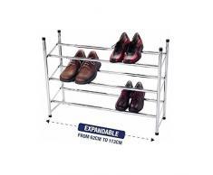 Étagère à chaussures extensible 4 étages de rangement en métal plaqué chrome