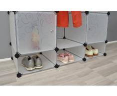 ts-ideen Armoire à vêtements Commode Meuble de rangement Entrée, chambre, salle de bains Blanc transparent
