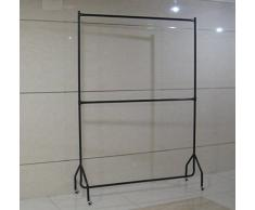 à deux étages Tringle à vêtements robuste vêtement à suspendre Rack en noir – Construction métallique (1,5 m de long x 2,1 m de hauteur)