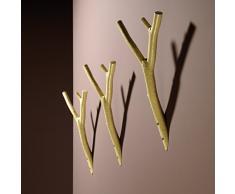 rosconi iserlohner branche Crochet porte-manteau, aluminium, 14,5 x 29 x 9 cm, vert/beige mat
