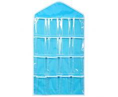 Vovotrade 16 Poches Suspendues Sacs Chaussettes Soutien-gorge Sous-vêtements Rack Cintre Stockage Organisateur Clair (Bleu)