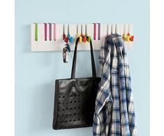 SoBuy FRG13-F Barre de support 16 crochets, Crochet porte-clés décoratif piano, patère, penderie mural, porte-manteau