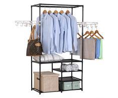 WOLTU SR0028 Penderie à vêtement ,Portant à vêtements Porte-manteau vêtements rack, 87x44x158cm,Noir