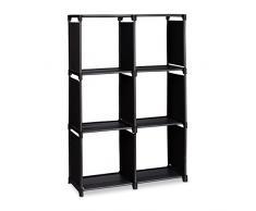 Relaxdays Étagère escalier 6 compartiments meuble escalier HxlxP: 109 x 106 x 30 cm bibliothèque séparation multi-cases séparateur de pièces, noir
