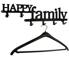 Porte-manteau mural - Happy Family/Bonheur Famille - Couloir - Patère porte-manteaux (Noir)