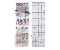 Jsfnngdv Sac de Rangement Mural en Tissu Non-tissé 24 Cadres, Sac de Rangement pour Chaussures, Portes en Tissu (Color : White)