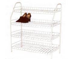 H & L Russel Ltd Étagère à chaussures 4 niveaux Métal blanc Jusqu'à 16 paires de chaussures