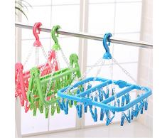 oobest Rack de Séchage suspendus-32 Clips Portable Plier des Vêtements en Plastique Cintre Séchage Rack pour Voyage en Plein air