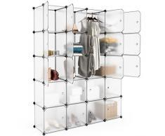 LANGRIA 20 Cubes Penderie Modulable Ouverte Meuble Etagère DIY pour Vêtements Rangement a Chaussures Bottes Jouets Accessoires Sac à Dos Capacité par Cube 4.5 kg (Blanc Translucide)