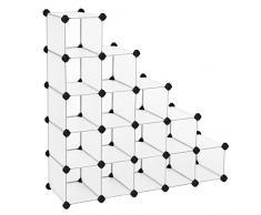 Songmics Armoire/Etagère de rangement à chaussures en plastique Blanche semi-transparente 4 x 4 Cubes 92,5 x 37 x 92,5 cm (L x l x h) LPC44S