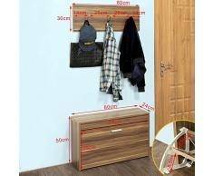 SoBuy® FSR31-BR Vestiaire Penderie Garde-robe Murale + Banc (mural) Meuble à chaussures 1 abattant