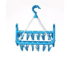 WEIHUIMEI Plastique Ronde Cintre à Pinces à Linge sous-Vêtements Chaussettes Séchage Rack avec 32 Pinces à Linge – 3 Couleurs Option, Plastique, Bleu, 02#