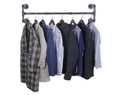 OROPY Portant à vêtement Industriel, Porte Manteaux Amovible 105cm, Penderie Murale Rail de Suspension Style Loft de Tuyau Barre en Métal (Quatre Bases)