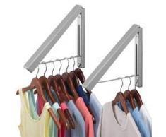 mDesign tringle à vêtements pour la buanderie (lot de 2) – portant à vêtements escamotable pour le séchage des chemises – barre de penderie murale pour cintres – gris
