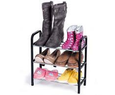 ArtMoon Calgary Étagère Chaussures 3 Couches Noir / Gris Metal / Plastique 41.7X19X44cm