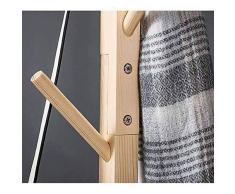 QSBY Manteau en Bois Chapeau De Brindille Arbre Et Porte-Manteau pour Entrée Couloir Chambre Penderie Placard 8 Crochets 175CM en Bois Massif Base Transversale,Natural