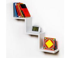 TecTake 800701 Etagère Murale en escalier Design en Bois, pour Le Rangement de Livres, CDs ou pour de la décoration, Matériel de Montage Inclus - Plusieurs Coloris - (Blanc   no. 403176)