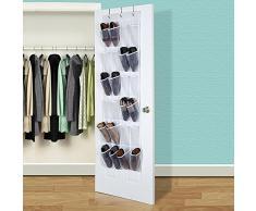 24 poches sur la porte de stockage de chaussures, Transparent Sacs à suspendre sur la porte, décoration murale à suspendre Armoire de collection, Rack pour chaussures de rangement organiseur de rangement Chaussettes, à suspendre
