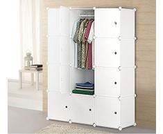 Szfmmy® 20 Box unité Cube DIY modulaire Vêtements étagère Chaussures Armoire Armoire Armoire rack de stockage étagère de rangement pour armoire 147*48*185 cm Plastique emboîtables