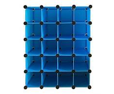 Lonlier Armoire Penderie Modulable cube rangement plastique 20 pcs DIY avec porte pour Vêtements Chaussures Jouets Livres Bibelots