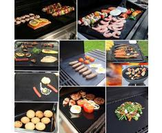 Barbecue grill Tapis - Lot de 2 Extra long (40 x 60 cm, Noir) et de cuisson antiadhésif Tapis de cuisson en téflon avec finition Surface Feuilles, durable et résistant à la chaleur jusqu'à 260 °C Fonctionne pour Electric