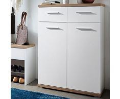 Meuble à chaussures blanc/chêne avec 2 portes et 2 tiroirs, Dim 74 x 110 x 34 cm -PEGANE-