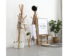X_LONG Râteliers multi-usages Porte-manteau nordique en bois massif Salon chambre à coucher vêtements rack simple cintre plancher moderne minimaliste plancher cintre