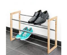 Étagère à chaussures bremermann®, tablettes pour chaussures extensibles, matériau : métal chromé, bois, marron