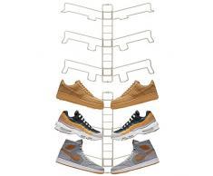 mDesign rangement chaussures (lot de 2) – étagère chaussure murale ajustable pour trois paires de baskets, chaussures de sport, etc. – gain despace part rapport à une armoire chaussures – argenté mat