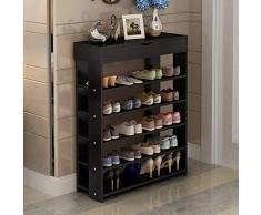 SogesHome 75x 24 x 94 cm Range-Chaussures 5 Tablettes avec tiroirs, étagère de Rangement pour Chaussures en Bois,Noir, L24-BK-SH
