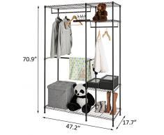 Hollyhome Heavy Duty Fil étagères Armoire de vêtement de rack pour organiseur portable Vêtements Rack de stockage Armoire avec Étagères réglables et cintres, épaissir en tubes d'acier