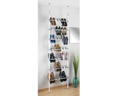 Wenko 6200070100 Range Chaussures téléscopique 42 Paires Atlas, 68.5 x 100-300 x 8.5 cm, Blanc, Métal