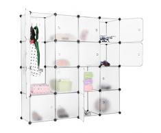 LANGRIA Armoire Penderie Modulable 16 Cubes Système d'Etagère Closet Armoire Rack avec Portes pour Vêtements Chaussures Jouets Livres Bibelots Stockage Translucide Blanc